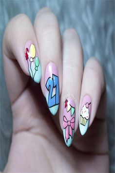 Nail Art For Your Birthday-Easy To Do YourselfIs your birthday coming back up? Well mine is, and that i started brooding about birthday party nails! Do people DO birthday nails? 21st Birthday Nails, Birthday Nail Art, Birthday Nail Designs, Birthday Ideas, Birthday Photos, Birthday Gifts, Happy Birthday, Birthday Cake, Ombre Nail Designs