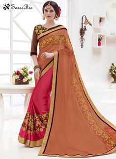 Brown and Hot Pink Embroidered Work Faux Georgette Half N Half Saree  For More Information WhatsApp 7202080091 Or Visit www.SareeBe.com  #red  #designer  #instagram  #kurti  #fashionista  #makeup  #delhi  #outfitoftheday  #women-fashion  #myfirststory  #model  #indian  #saree  #ramadanmubarak  #trendy  #ethnic  #picoftheday  #menonroposo  #roposolove  #cool  #firstpost  #soroposo  #summer-style  #streetstyle  #summer  #newdp  #beauty  #traveldiaries  #styles  #youtuber  #bestSeller