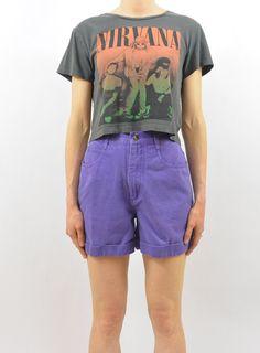 Vintage High Waisted Purple Denim Shorts by littleraisinvintage
