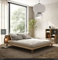 What shade/nuance of lime paint could this be? : malelivingspace Room Ideas Bedroom, Bedroom Decor, Japan Bedroom, Japanese Inspired Bedroom, Scandinavian Interior Bedroom, Japanese Interior Design, Loft Room, Apartment Interior, Bed Frame