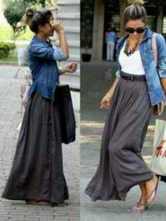 Chambray top & grey maxi skirt possibly with chunky mint necklace