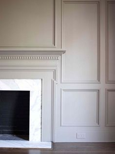 Nine Fabulous Benjamin Moore Warm Gray Paint Colors - laurel home classic fireplace mantel and wall paneling painted in Benjamin Moore Revere Pewter Fireplace Surrounds, Fireplace Design, Fireplace Mantels, Fireplace Wall, Fireplace Molding, Fireplace Drawing, Fireplace Kitchen, Fireplace Cover, Fireplace Outdoor