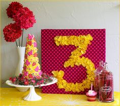 Love the idea of this number board- use to post the age for a birthday party or anniversary party.