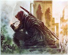 Art of Guardino - Dunedain at the ruins of Annuminas // INKTOBER day 9 Tolkien Books, Jrr Tolkien, Fantasy World, Fantasy Art, John Howe, O Hobbit, Into The West, Striders, Dark Lord