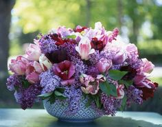 Tulip and lilac Carolyn Roehm floral arrangement