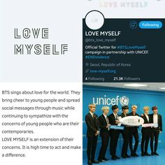 BTS joins hands with the United Nations Children's Fund (UNICEF) to stage campaigns against violence toward children and teens around the world, with the hope of making the world a better place through music~ Please go look at the official website! It has all the information! I'm so happy and proud! (love-myself.org) - 171101 ❤❤❤❤❤❤❤ #BTSLoveMyself #ENDviolence #BTS #방탄소년단