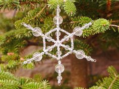 Clear beaded snowflake decoration, snowflake suncatcher by FfigysDesigns #Etsy #Handmade #TheVerandaTeam