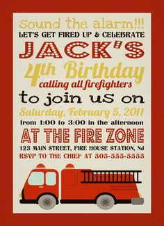 fire truck invite birthday party