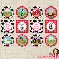 PRINTABLE Girl on the Farm Party Circles (Personalized) #559