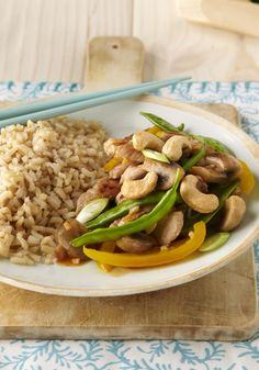 Pork, Snow Pea & Mushroom Stir-Fry for Two -- Can this Asian-inspired, healthy living recipe get any better? It can--because this stir-fry is ready for the dinner table in just 20 minutes!
