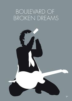 """No117 MY Green Day Minimal Music poster by Chungkong.nl """"Boulevard of Broken Dreams"""" is a song by punk rock band Green Day, for their album American Idiot (2004). TAGS: Green, Day, Boulevard, of, Broken, Dreams, 2004, American, Idiot, Billie, Joe, Armstrong, Holiday, 00s, minimal, minimalism, minimalist, poster, artwork, alternative, graphic design, chungkong, fan, art, print, retro, gift, room, wall, classic, original, time, best, quote, song, music, inspiration, rock, guitar, star, artist,"""
