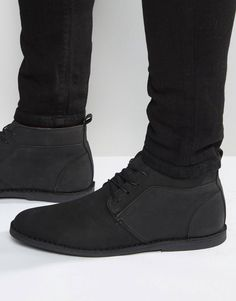 River Island Nubuck Leather Chukka Boots In Black