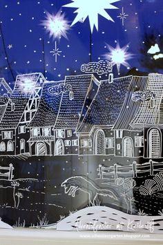 Adventsfenster+Ideen+Kreidestift+fl%C3%BCssig+bemalen+Dorf+Motiv+Ein+Schweizer+Garten+Blog+Herrnhuter+Mini+Sterne+%2825%29.JPG 426×640 Pixel