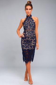 Divine Destiny Navy Blue Lace Midi Dress 1 Trendy Dresses e5ac5dbffb2