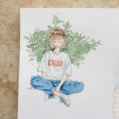 Emp~ Its tranquility ,tranquillity Pretty Art, Cute Art, Watercolor Illustration, Watercolor Art, Character Art, Character Design, Notebook Art, Arte Sketchbook, Art Anime