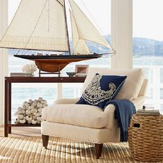Beach House Interior With Sailboat Model