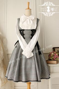 Vintage College School Tartan Lolita Jumper Dress $57.99-Cotton Lolita Dresses - My Lolita Dress