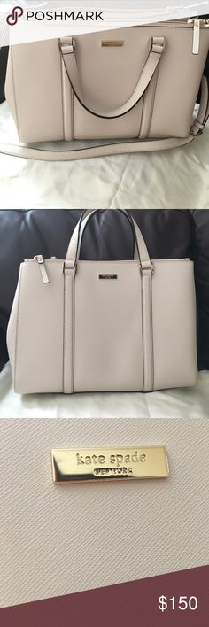 Kate Spade Authentic Cream Purse Authentic Kate Spade Purse that can be converted into a side body bag. Only worn once. Plenty of room for those looking for a new white bag for everyday use. Two larger separate pockets as well as two snaps on the side to make the bag smaller kate spade Bags Shoulder Bags