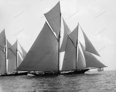 Sail Boats Majestic In The Water 1891 Vintage 8x10 Reprint Of Old Photo