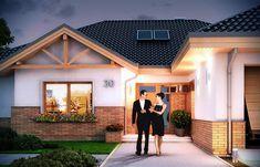 Zdjęcie projektu Rozłożysty WAH1552 Building Plans, Home Fashion, Garage Doors, Villa, Construction, House Design, How To Plan, Mansions, House Styles