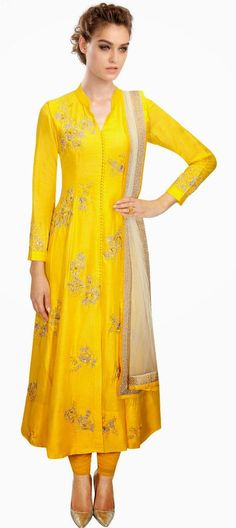 429243: Yellow color family stitched Anarkali Suits .