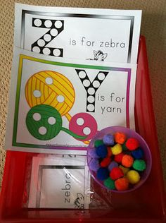 Letter Y and Z workboxes, Letter of the Week curriculum