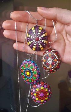 Mandala Stone and Chain Necklace Mandala Pendant Painted Rock | Etsy