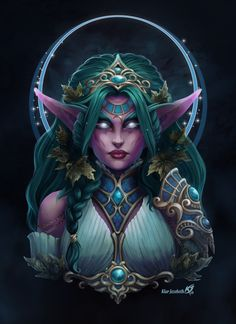 Tyrande Whisperwind by Klar-Jezebeth // The High Priestess of Elune Art Warcraft, World Of Warcraft Game, Warcraft Characters, Fantasy Characters, Fantasy Girl, Dark Fantasy, Elizabeth Ii, Dark Tide, Female Elf