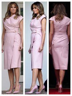 First Lady Melania Trump Royal Fashion, Fashion Looks, Milania Trump Style, Fashion Mode, Womens Fashion, Melania Knauss Trump, Royal Clothing, First Lady Melania Trump, Beautiful Dresses
