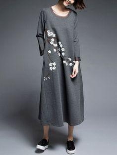 Deep Gray Long Sleeve Printed Midi Dress