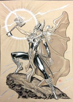 This was my first drawing of the new female Thor. I'll have to read the comic when it comes out in a couple of months to see what her story is though Female Thor Comic Book Characters, Marvel Characters, Comic Character, Comic Books Art, Comic Art, Character Design, Robert E Howard, Female Thor, Asgard