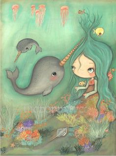 Norwhal Painting Sea Girl Ocean Fish Cute Whimsical Jellyfish Original Art Nursery Children Under The Sea Painting---18 x 24 by thepoppytree on Etsy https://www.etsy.com/listing/228762330/norwhal-painting-sea-girl-ocean-fish
