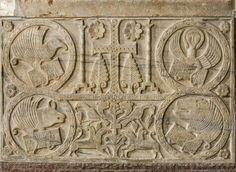 Paliotto di sigualdo dal parapetto del battistero di Callisto. VIII sec dC. Tesoro del Duomo di Cividale