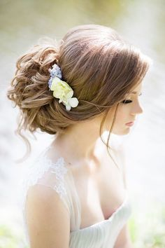 bridal updo hairstyles with flower headpiece | Deer Pearl Flowers