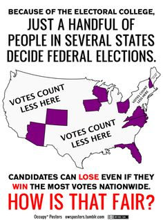 Sure looks like the Electoral College should abolished! BUT THAT IS NO EXCUSE NOT TO VOTE!!   It's time is over.