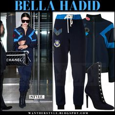 Bella Hadid in blue track jacket and blue track pants mr and mrs italy