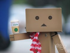 coffee and Amazon box robot
