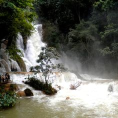 A waterfall outside Luang Prabang, Laos