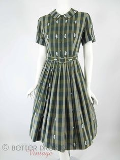 50s/60s Green Plaid Belted Full Shirtwaist Dress - sm by Better Dresses Vintage