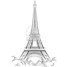 how to draw the eiffel tower easy youtube