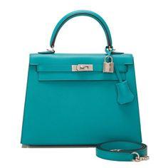 #Hermes Sellier #Kelly #Bag Blue Paon Epsom Palladium Hardware
