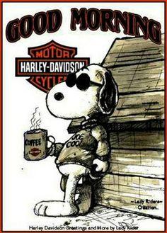 Good Morning - Harley Davidson Joe Cool with Coffee Snoopy Love, Charlie Brown And Snoopy, I Love Coffee, My Coffee, Drink Coffee, Coffee Angel, Coffee Break, Coffee Music, Coffee Life
