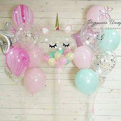 Unicorn Themed Birthday Party, Baby Girl Birthday, Unicorn Birthday Parties, First Birthday Parties, First Birthdays, Unicorn Party Decor, 5th Birthday, Balloon Decorations, Birthday Party Decorations