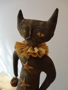 Primitive Halloween Herbst Cat Doll Muster mit Clay Jack-o-Laterne und Sterne ETSYFOLK