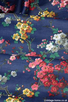 Vintage Home Shop - 1930s Apple and Cherry Blossom Fabric: www.vintage-home.co.uk