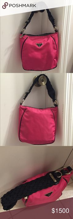 Rare hot pink Prada shoulder bag! Beautiful & Rare! Hot pink Prada shoulder bag. Funky braided shoulder strap. Leather trim and non body. Excellent condition. Not worn much - maybe two times? Clean Inside with zippered pocket. Silver hardware. Just noticed a few spots on nylon- nothing too noticeable unless you look for them. I can send pictures if interested. I have not tried to get off. Prada Bags Shoulder Bags