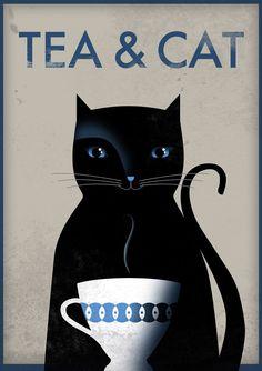 Tea & Cat. Print poster 165 x 116 A3 by Thesmokingcat on Etsy