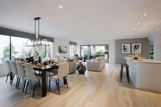 Grey and white living area open plan living, open plan kitchen living room, Open Plan Kitchen Dining Living, Open Plan Kitchen Diner, Open Plan Living, Living Room Kitchen, Home Living Room, Living Room Designs, Living Area, Dining Room, Modern Kitchen Design