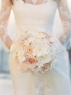 Pink Roses and Lace New Orleans Wedding from Jacqueline Dallimore - bridal bouquet Mod Wedding, Dream Wedding, Wedding Day, Wedding Things, Wedding Decor, Wedding Stuff, Wedding Dress, Neutral Wedding Flowers, Blush Bouquet