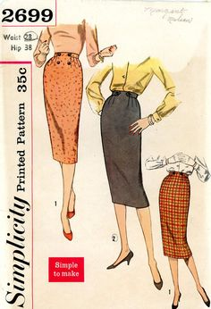 Vintage Sewing Pattern - 1960s Misses Set of Skirts, Simplicity 2699 Waist 28 Hip 38